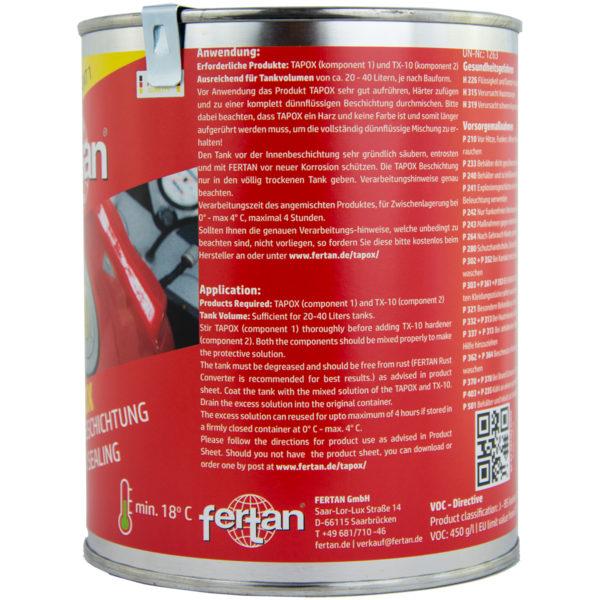 Fertan Tapox 2K + Convertor Rugina + 2K Metal Kit - pentru rezervor cu volum 20 - 45 l